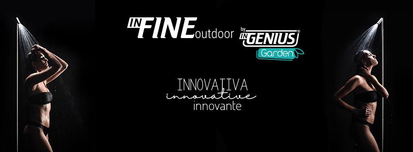inFINE outdoor shower column inGENIUS banner