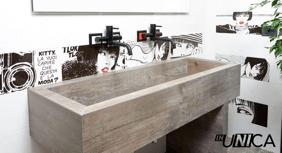 Installazione inUNICA bicolor gruppo lavabo a parete - finiture rubinetteria nero opaco - piastrelle serie Valentina Crepax