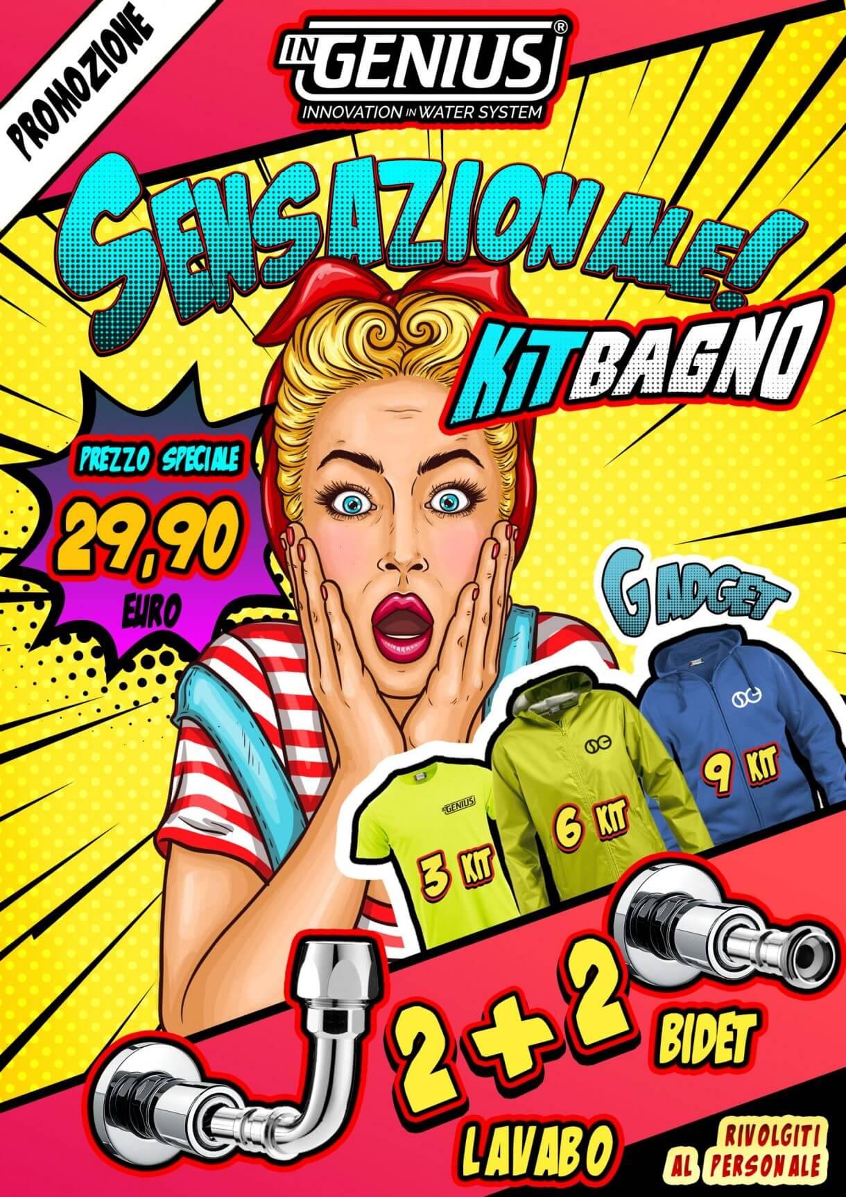 volantino promo KIT BAGNO + abbigliamento Gadget